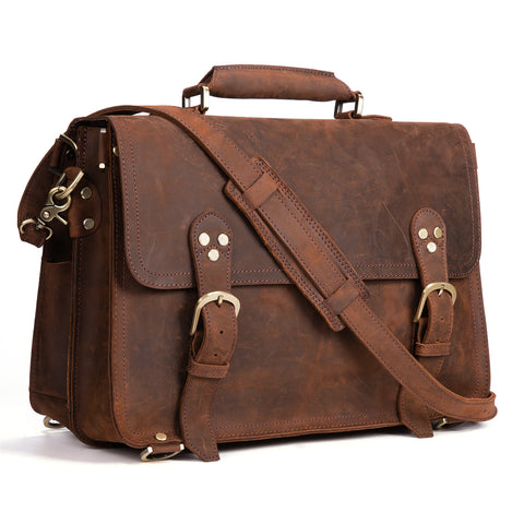 "Kattee 3-Way Men's Crazy Horse Leather Vintage Briefcase Travel Backpack 15"" Laptop Shoulder Bag Handbag"