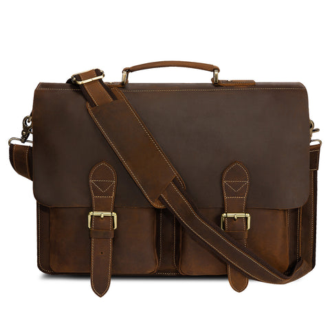 Kattee Handmade Genuine Leather Laptop Briefcase
