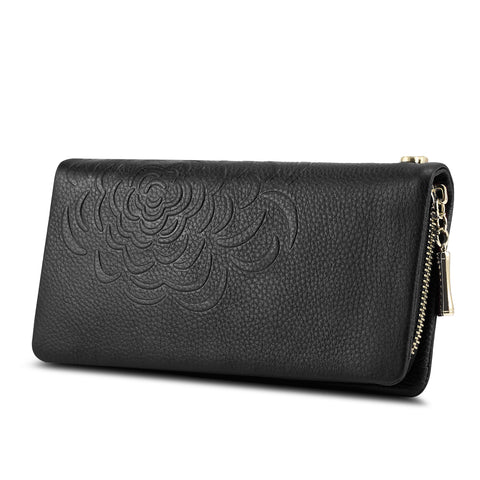 Kattee Wallet for Women, Genuine Leather Zipper Pocket Wallet Flower-embossed Clutch