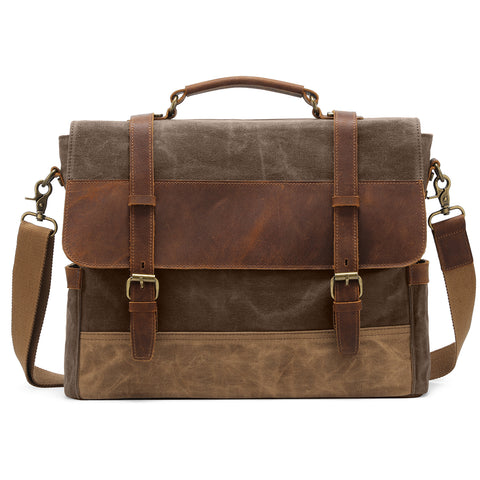 Kattee Men's Leather Canvas Messenger Bag Briefcase