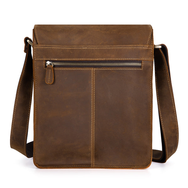 Kattee Vintage Look Cow Leather Flapover Laptop Messenger Bag Brown,Small