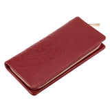 Kattee Soft Cowhide Leather Wallet Ladies Flower-embossed Clutch