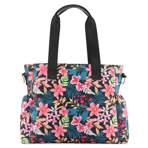 Plambag Baby Diaper Tote Bag, Waterproof Floral Travel Nappy Tote for Women