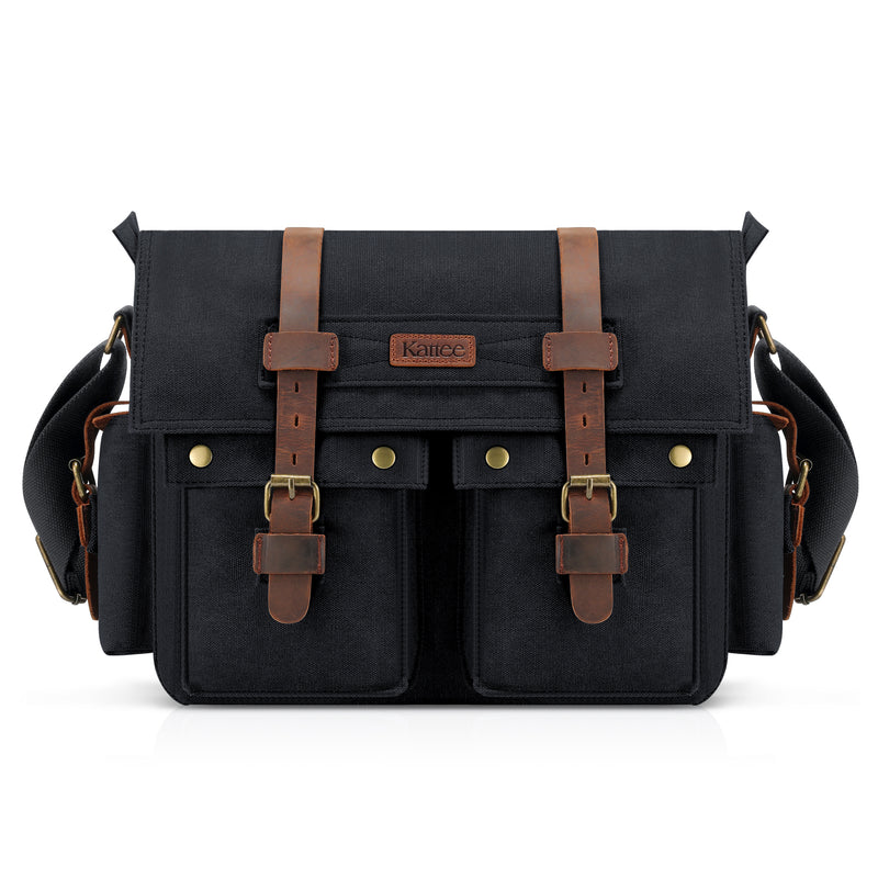 Kattee Retro Unisex Canvas Leather Messenger Shoulder Bag Black,standard