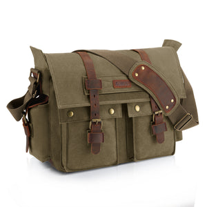 Kattee Retro Unisex Canvas Leather Messenger Shoulder Bag Army Green,X-Large