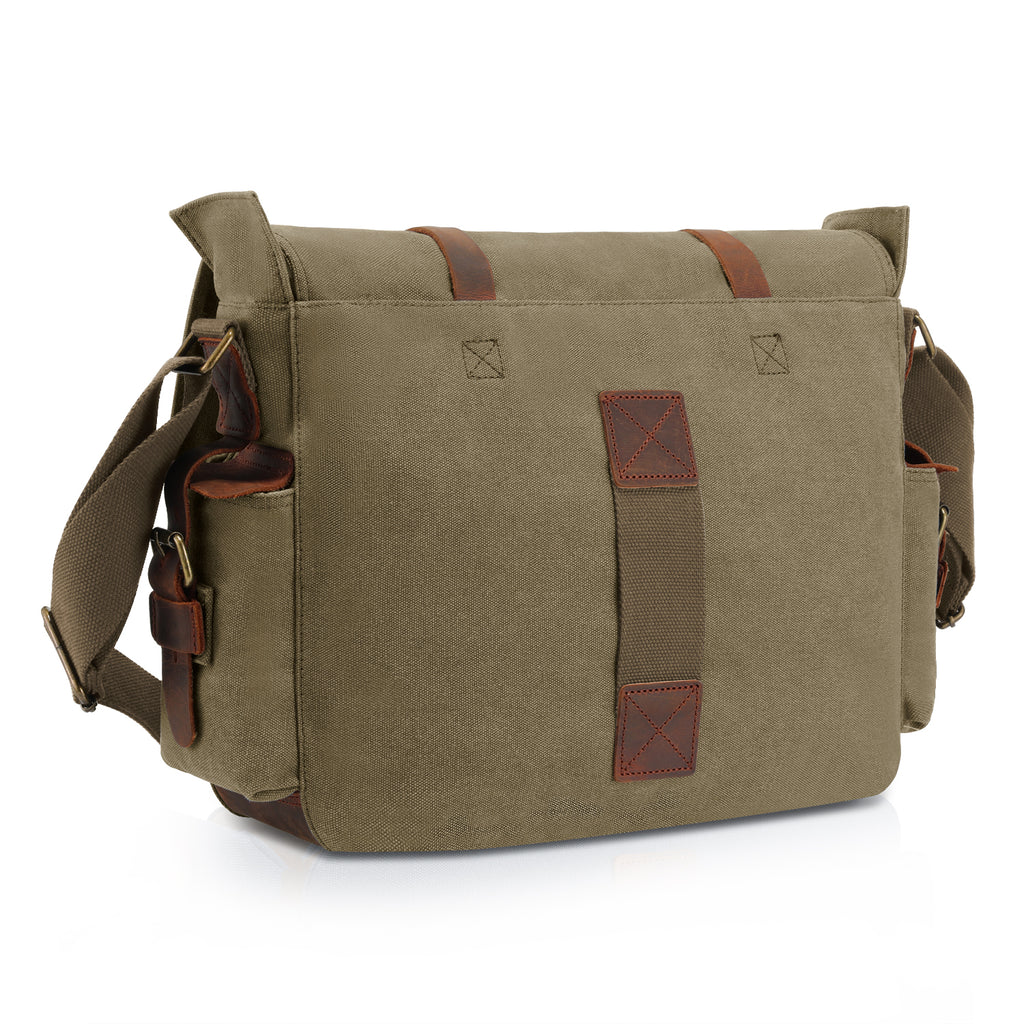 6082916a5a28 ... Kattee Retro Unisex Canvas Leather Messenger Shoulder Bag Army  Green,standard ...