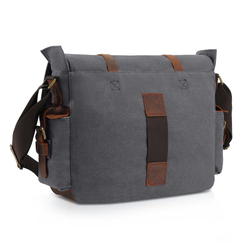 Kattee Retro Unisex Canvas Leather Messenger Shoulder Bag Dark Grey,X-Large