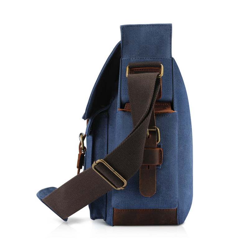 Kattee Retro Unisex Canvas Leather Messenger Shoulder Bag Blue,X-Large