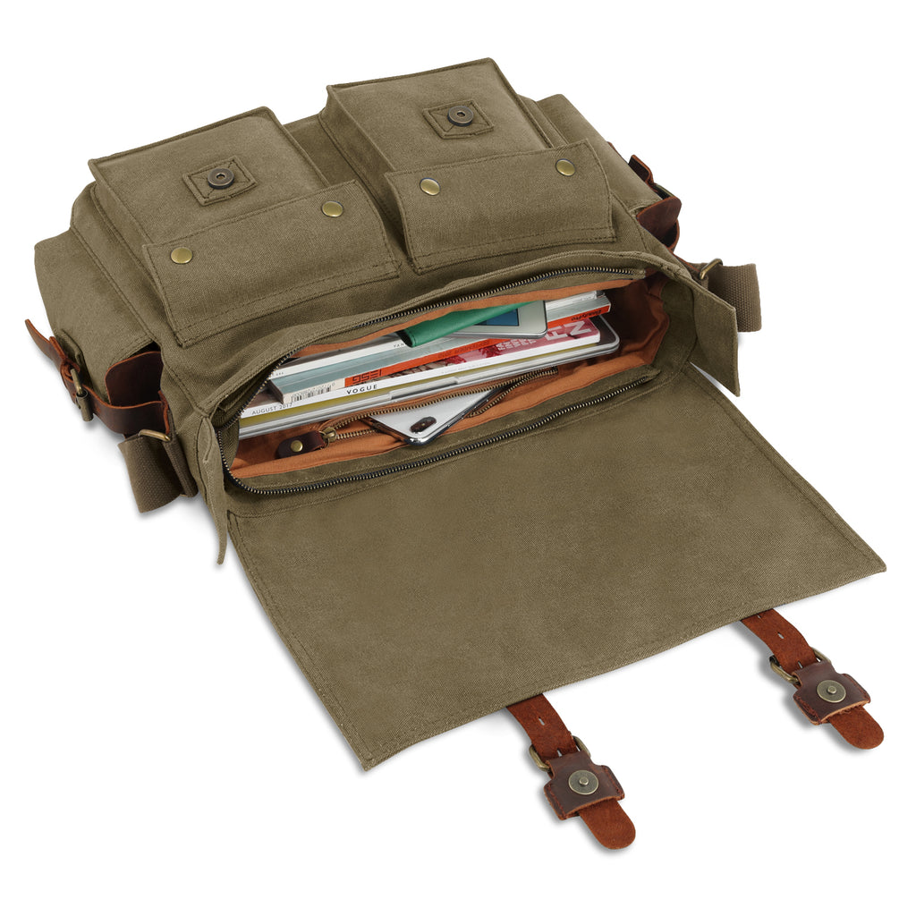 932df17d25 ... Kattee Retro Unisex Canvas Leather Messenger Shoulder Bag Army  Green