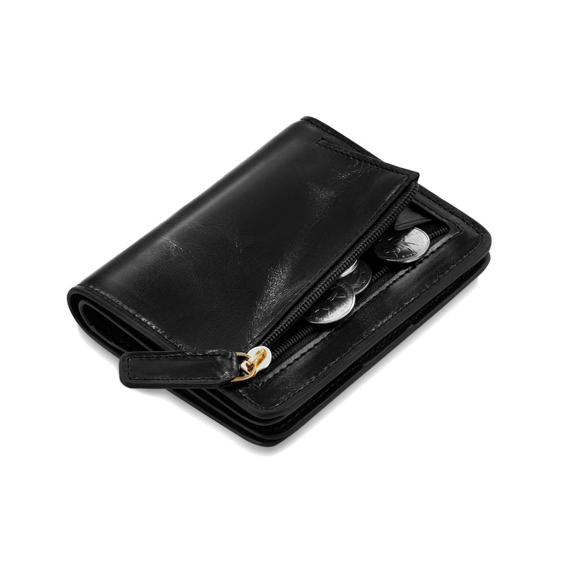 Kattee RFID Blocking Leather Bifold Small Wallet for Women Black