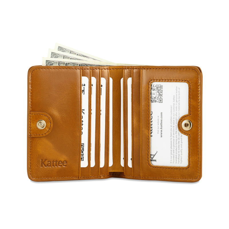 Kattee RFID Blocking Leather Bifold Small Wallet for Women Brown