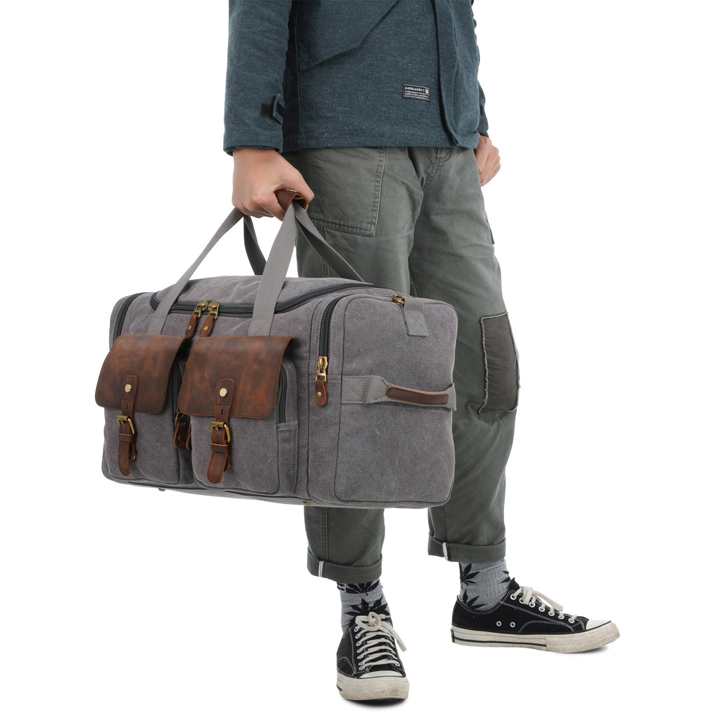 9a5874849863 Plambag Oversized Leather Trim Canvas Duffle Bag Overnight Tote Weekend Bag