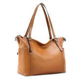 Kattee Vintage Cowhide Leather Adjustable Strap Tote Shoulder Bag for Women