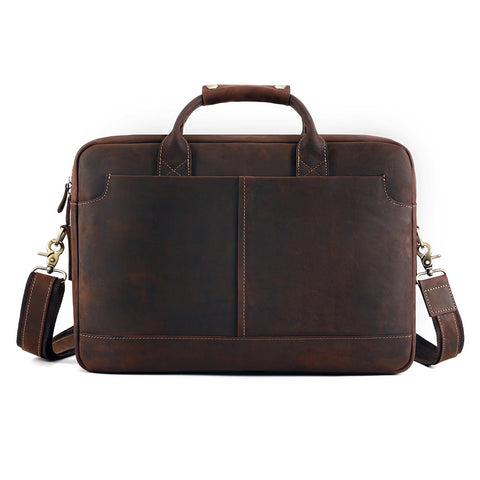 "Kattee Vintage Simple Look Real Leather 17""Laptop Briefcase"