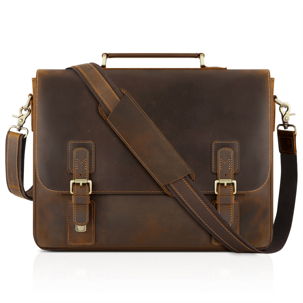 756839f3e19a Kattee Men's Leather Satchel Briefcase , Laptop Messenger Shoulder Bag  Tote, Brown