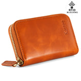 Kattee Leather Zip Around Wallet, Women's RFID Credit Card Small Wallet Brown