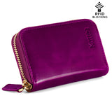 Kattee Leather Zip Around Wallet, Women's RFID Credit Card Small Wallet Purple red