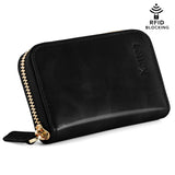 Kattee Leather Zip Around Wallet, Women's RFID Credit Card Small Wallet Black