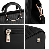 Plambag Ladies PU Leather Tote Purse, Round-handle Shoulder Bag with Striped Stitching