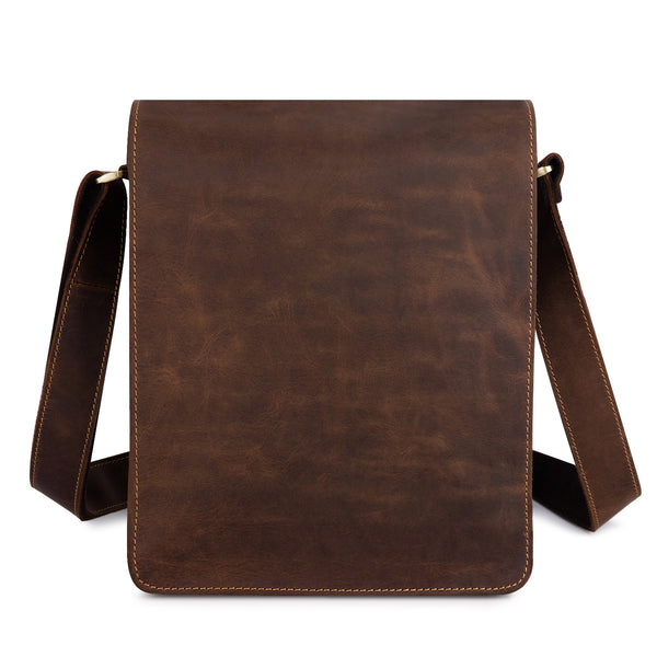 Kattee Vintage Look Cow Leather Flapover Laptop Messenger Bag