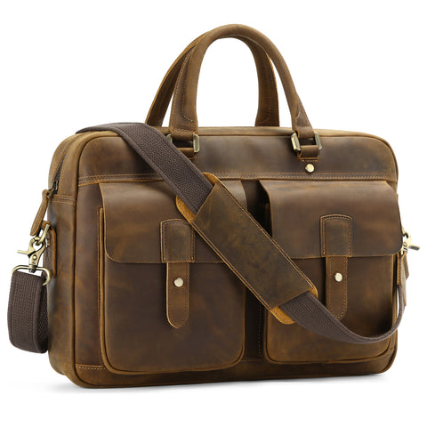 "Kattee Genuine Leather 15.6"" Laptop Briefcase for Men, Crazy Horse Leather Satchel Messenger Bag"