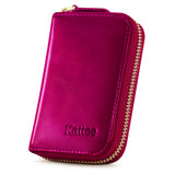 Kattee Leather Zip Around Wallet, Women's RFID Credit Card Small Wallet Red