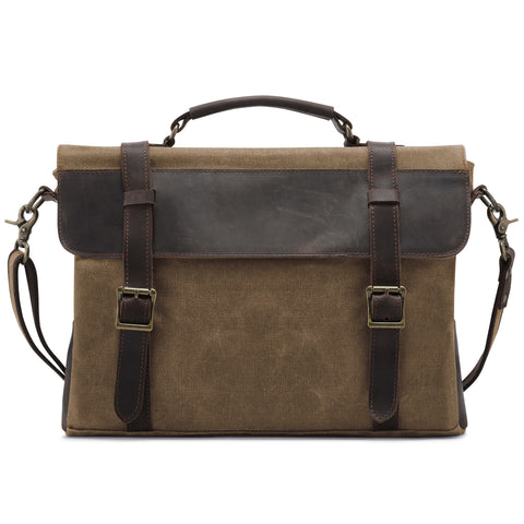 Kattee Men's Canvas Genuine Leather Messenger Shoulder Bag