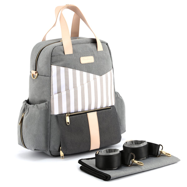 Plambag Fashion Diaper Backpack, Baby Nappy Bag with Changing Pad & Stroller/Shoulder Straps