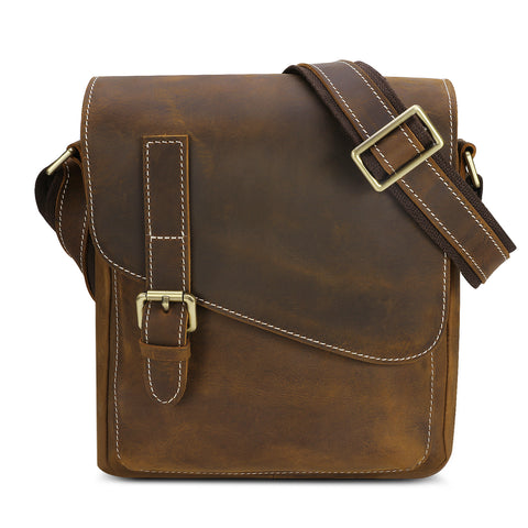 Kattee Small Messenger Bag, Vintage Leather Men's Crossbody Shoulder Bag Dark Brown