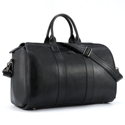Katttee Lightweight Leather Duffle Travel Weekender Bag Black