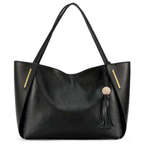 Kattee Leather Tote Bag Top Handle Shoulder Bag with Tassel Decoration