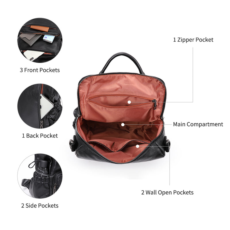 Plambag Women Backpack Anti-theft Shoulder Bag Shoulder Bag in Soft PU Leather Casual Backpack for School Travel Business