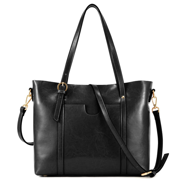 Kattee Vintage Cowhide Leather Tote Crossbody Shoulder Bag for Women