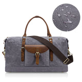 Plambag Oversized Duffel Bag, Waterproof Canvas Leather Trim Overnight Luggage Bag