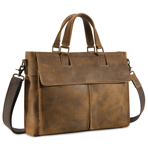 Kattee Leather 15.6in Laptop Briefcase