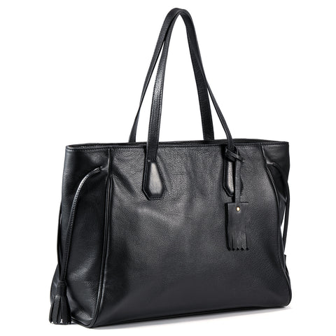 "Kattee Women's Soft Leather Tote Zipper Closure Shoulder Bag Fits 15"" Laptop Black"