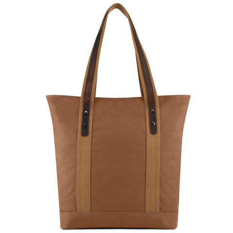 Plambag Canvas Genuine Leather Tote Retro Shoulder Bag