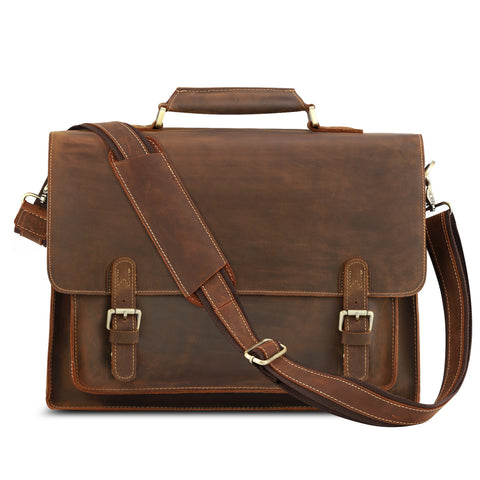 "Kattee Real Leather Shoulder Briefcase, 15.7"" Laptop Tote Bag"