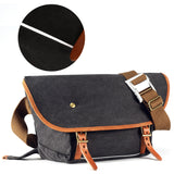 Kattee Canvas Crossbody Bag, Causual Leather Trim Messenger Shoulder Bag for Men