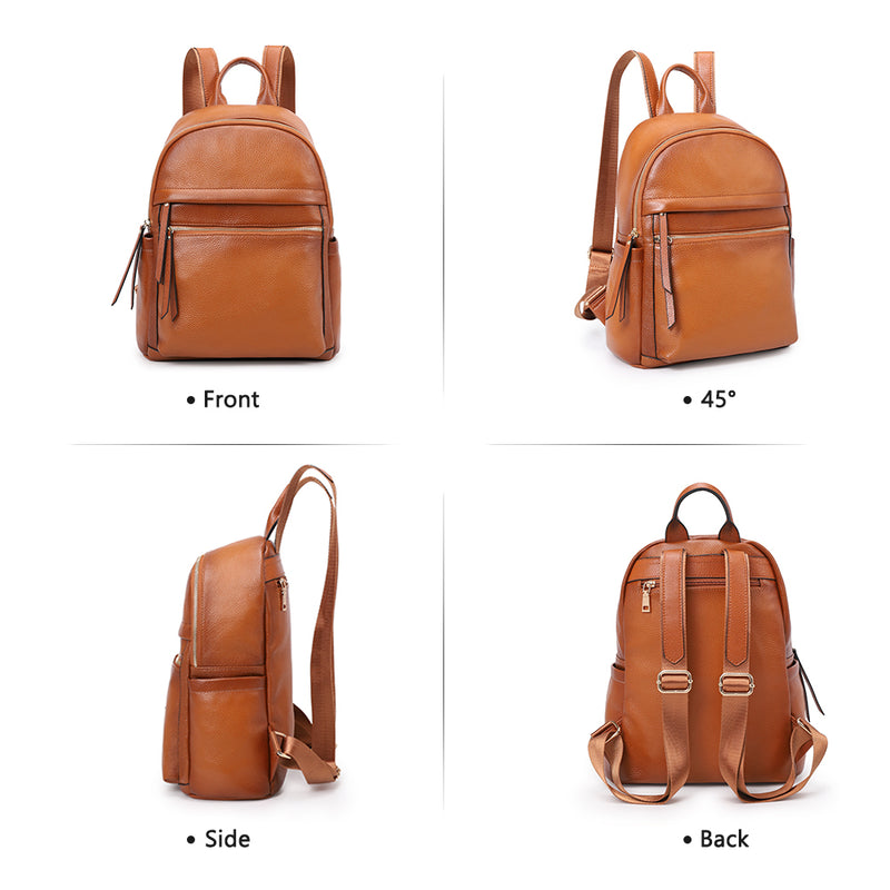 Kattee Woman Backpack Genuine Leather Casual Backpack Vintage Backpack Daypack for School Travel Business Shopping