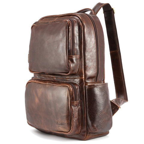Kattee Oil Leather Laptop Backpack Travel Hiking Daypack for Men
