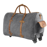 Kattee Oversized Canvas Leather Trim Wheeled Duffel Bag Travel Weekend Tote