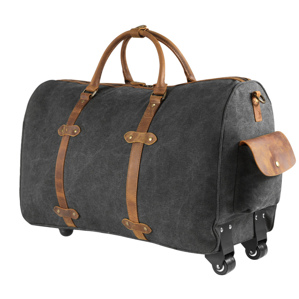 5a1ff3976f ... Kattee Oversized Canvas Leather Trim Wheeled Duffel Bag Travel Weekend  Tote ...