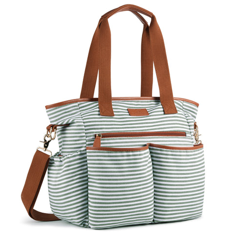 Plambag Striped Diaper Tote Bag With Changing Pad
