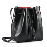 Kattee Women's Leather Bucket Crossbody Bag Tassel Drawstring Shoulder Bag
