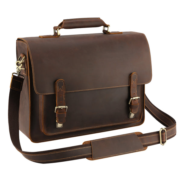 ef717092dfc9 Kattee Real Leather Shoulder Briefcase, 15.6