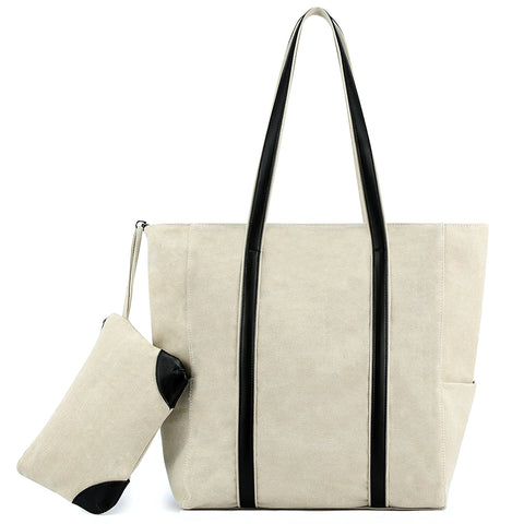Plambag Canvas Shopper Tote Large Top-Handle Shoulder Bag + Pouch