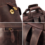 Kattee Vintage Casual Backpack, Crazy Horse Genuine Leather Multi Pockets Travel Daypack
