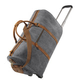Kattee Oversized Canvas Leather Trim Wheeled Duffel Bag Travel Weekend Tote Light Gray