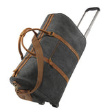Kattee Oversized Canvas Leather Trim Wheeled Duffel Bag Travel Weekend Tote Dark Gray